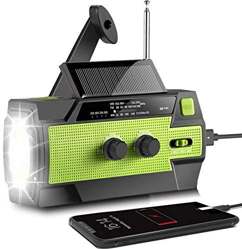AONCO Solar Radio AM/FM/NOAA Kurbelradio Tragbar USB Wiederaufladbar Notfallradio mit 4000mAh Power Bank, Led Taschenlampe, SOS Alarm und Leselicht für Camping,...