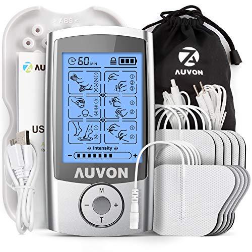 AUVON TENS Gerät, Wiederaufladbare Reizstromgerät TENS EMS mit 16 Trainigsprogramme, 2 Kanäle und 10 Stück 2'x 2' Premium Elektroden Pads mit patentiertem...