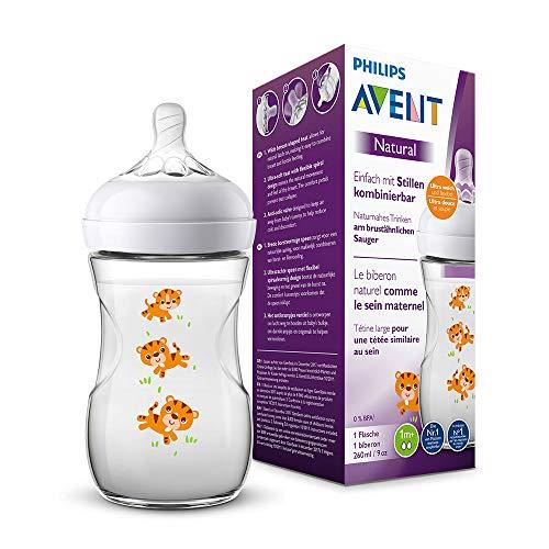Philips Avent Natural Flasche SCF070/20, 260 ml, naturnahes Trinkverhalten, Anti-Kolik-System, Tiger, 1er Pack