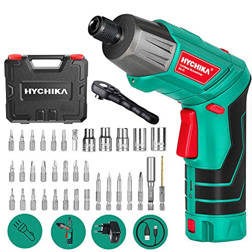 Akkuschrauber, 6N·m Max. Drehmoment HYCHIKA 2000mAh 3,6V Li-Ion Akku mit 36 Zubehörteilen, LED-Licht und Taschenlampe, Ratschenschlüssel, Ladeadapter mit USB...