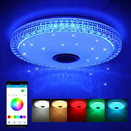 Frontoppy 72W LED Deckenleuchte mit Bluetooth Lautsprecher, Fernbedienung oder APP-Steuerung, Farbwechsel-Option, 4300 Lumen Ø40cm Dimmbare Deckenleuchten für...