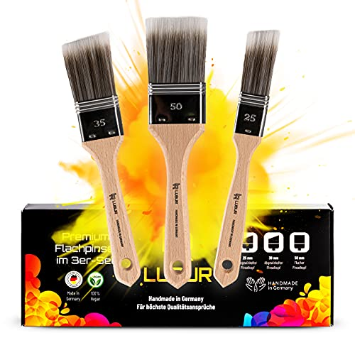 Lubur® Premium Pinselset - Made in Germany - 3X Handgefertigte Malerpinsel aus Synthetikhaar - Flachpinsel ohne Borstenverlust - Lasurpinsel inkl. Aufbewahrungsbox...