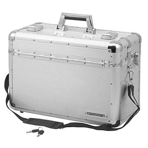anndora Pilotenkoffer Businesskoffer TSA Schlösser Aluminium Oberfläche - Silber