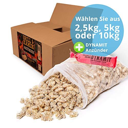 10 kg Kamin-Anzünder und Grill-Anzünder (Ofen-anzünder, Anzündwolle, Anzündhilfe) aus Bio Holz-Wolle und Wachs - schnell und umweltfreundlich