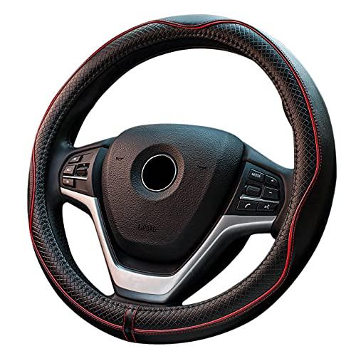 FLKAYJM Universal Auto Lenkradhüllen aus Microfiber Leder 38CM Heavy Duty Anti Rutsch Schwarz Rot