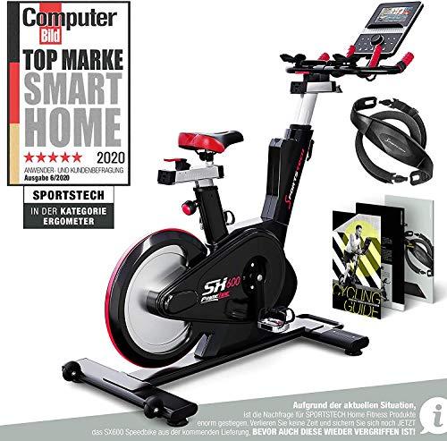 Sportstech Elite Indoor Cycle Bike | Deutsches Qualitätsunternehmen |Video Events & Multiplayer App | computergesteuertes Magnetbremssystem + 26kg Masse | Speedbike...