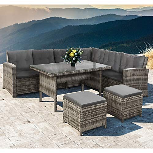 ArtLife poly rattan sofa set Lounge Santa Catalina beige-gray - garden furniture set with corner sofa, 2 & table - up to 6 people - weatherproof & stable