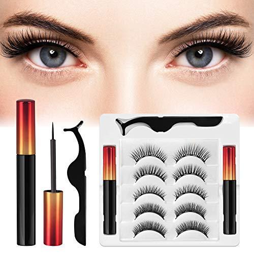 Magnetiska ögonfransar 5 par, magnetiska ögonfransar, 3D magnetiska ögonfransar med eyeliner, magnetiska ögonfransar eyeliner set, vattentät och återanvändbar med pincett