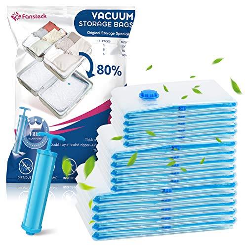 Fansteck 15 Stück Vakuumbeutel für Kleidung Reise Bettdecken, kleines und großes Vakuum Aufbewahrungsbeutel, Kompressionsbeutel Kompatibel mit Staubsauger...