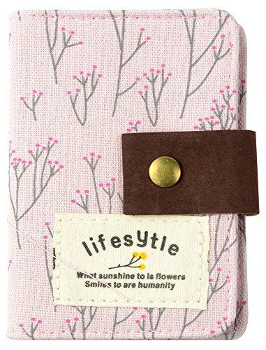 niceeshop(TM) Segeltuch Blume Kreditkarte Tasche mit 20 Klarsichtfächern, Hell Rosa