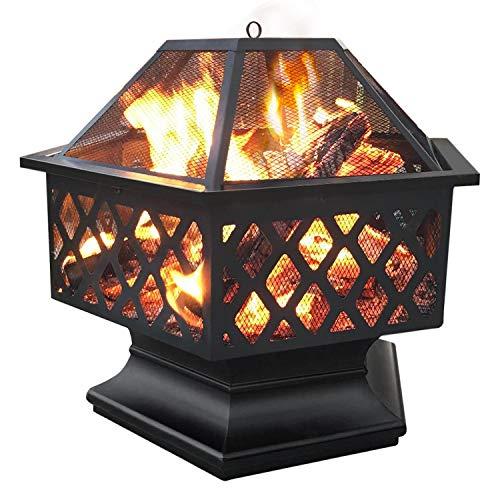 Yaheetech Feuerstelle Garten, Ø 61cm, Feuerkorb, sechseckige Feuerschale, Feuerschale für Außenterrasse Hinterhof Campinggarten, Firepit Terrasse, Maschendraht &...