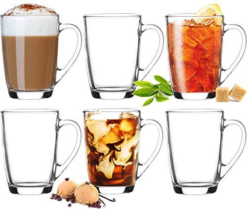 Platinux Kaffeegläser Teegläser mit Griff Set 6 Teilig Coffee 250ml (max. 320ml) Frühstücksgläser Trinkgläser Macchiato