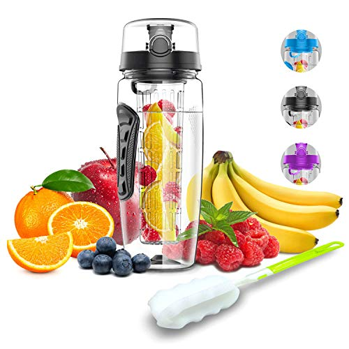 Babacom water bottle with fruit insert 1L / 32OZ drinking bottle sport with infuser cleaning brush closure handle for fruit juice BPA-free Tritan