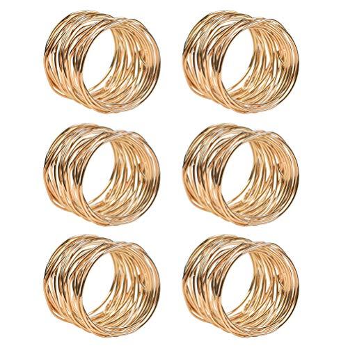 FOROREH 6pcs Serviettenringe Gold Metallmaschen Serviettenschnallen Set 4.2 * 3.6cm Serviettenhalter Napkin Ring für Hochzeitsfeier Esstisch Hotel Dekoration