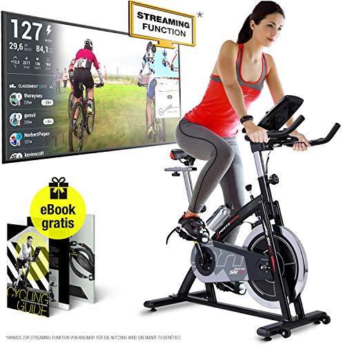 Sportstech Profi Indoor Cycle SX200 – Deutsche Qualitätsmarke -mit Video Events & Multiplayer APP, 22KG Schwungrad, Pulsgurt kompatibel-Speedbike mit...