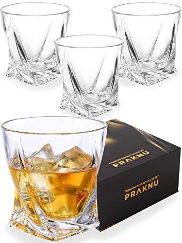 Praknu Whiskey Gläser 4er Set mit Geschenkbox - Edles Kristallglas 270ml - Twist Whisky Glas - Spülmaschinenfest