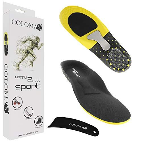 COLOMAX - SPORT - Einlegesohlen ideal für Sport und Alltag - Optimale Dämpfung - Maximaler Halt - Für Damen & Herren, Schwarz, 39 - 42 EU / M