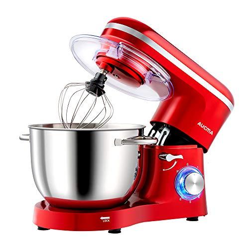 Aucma Küchenmaschine Knetmaschine 1400W, 6.2L Reduzierte Geräusche Knetmaschine mit Rührbesen, Knethaken, Schlagbesen und Spritzschutz, 6 Geschwindigkeit mit...