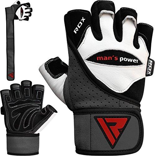 Authentische RDX Kuh haut leder Gewicht heben Gym Handschuhe K▒rper Fitness Gr. L