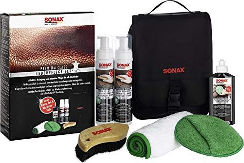 SONAX PremiumClass LederPflegeSet - Entfernt gründlich und schonend selbst hartnäckige Verschmutzungen, ohne das Leder anzugreifen oder auszulaugen | Art-No....