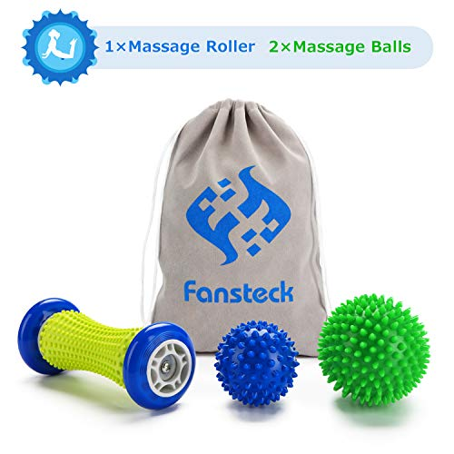 Fußmassageroller und Massagebälle für Plantarfasziitis, Fansteck Faszienball Roller & Bälle Set, Schmerzlinderung für Hacken & Fußgewölbe, Stressreduzierung...