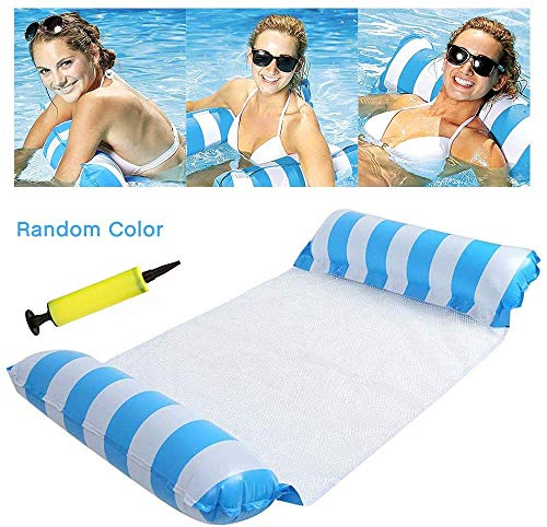 sopplea Inflatable Floating Bed, Water Hammock 4-in-1 Lounge Chair Pool Lounge Air Mattress Pool Inflatable Hammock Pool Inflatable Hammock for ...