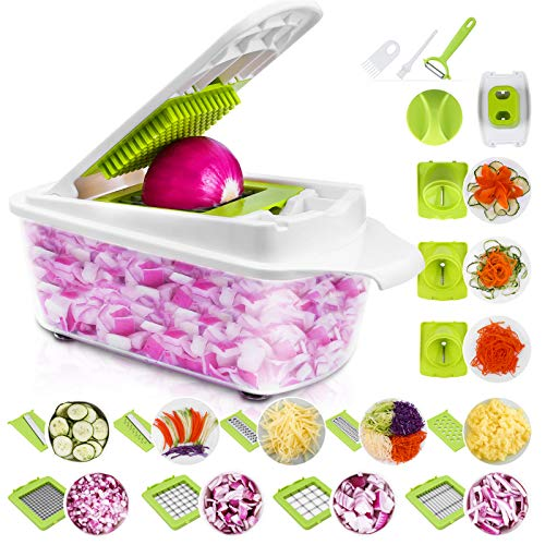 Sedhoom 23 in 1 Gemüseschneider Küchegeräte, Gemüsehobel Zwiebel Zerkleiner, Edelstahl Klingen, Obst und Gemüseschneider Zwiebelschneider, Ideal zum Hobeln von...