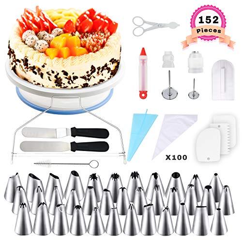 WisFox 152 Teiliges Tortenplatte Drehbar Tortenständer Kuchen Drehteller Spritztüllen Set mit 36 Spritztüllen,100 Einweg Spritzbeutel,2 Adapter,2 Spatel,2...