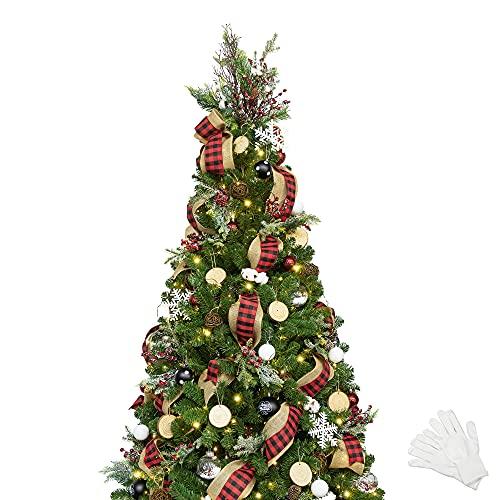 210cm Künstlicher Weihnachtsbaum mit 400 LED-Lichtern und Ornamenten Woodland Weihnachtsschmuck, einschließlich voller künstlicher Christbaumkugeln,...