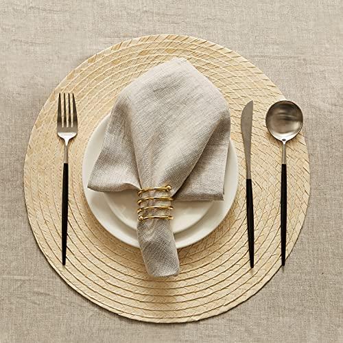 DAPU Leinenservietten Stoffservietten 100% natürlicher französischer Leinentuch 6-er Set Servietten Mit Saum 45x45 cm