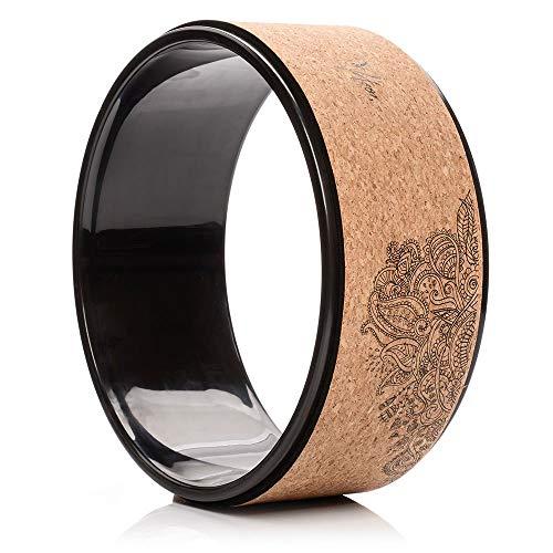 meteor Yoga Rad aus Naturkork Yoga Wheel zum Dehnen bis 250kg belastbar Mandala Design (31,7 x 12,5cm, Kork)