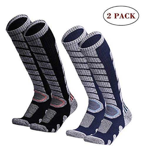 sancuanyi 2 Paar Skisocken Skistrumpf Herren, Damen und Kinder für Wintersport, Snowboard atmungsaktive Socken Knie-Strümpfe Thermosocken Funktionssocken...
