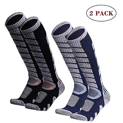 sancuanyi 2 pairs of ski socks, ski socks, men, women and children for winter sports, snowboard, breathable socks, knee-high socks, thermal socks, functional socks ...
