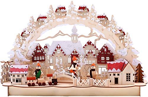 BRUBAKER 3D LED candle arch candle arch - winter landscape with old town - LED lighting - natural wood - 43,5 x 27 x 10,1 cm - hand-painted