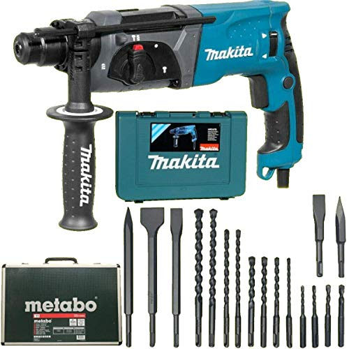 Makita rotary hammer HR2470 in case + Metabo drill and set of chisels 17 part