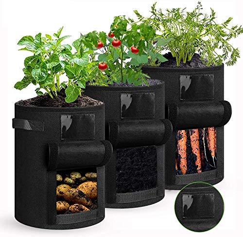 shengda wei 3 Stück Kartoffel Pflanzsack, 7 Gallonen Pflanzen Tasche mit Griffen, Blumen Pflanzbeutel, Große Gemüse Pflanzgefäße Töpfe Container für Garten...