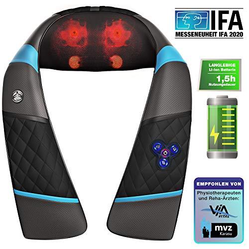 Messe-Neuheit 3in1 Massagegerät mit Akku für Schulter Rücken & Nacken, Shiatsu 4D + Klopfen, Wellness Ganzkörper Nackenmassagegerät & Wärme, RXM250...