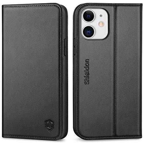 SHIELDON iPhone 12 Hülle, iPhone 12 Pro Handyhülle [100% Echtleder] [RFID Schutz] [Kartenfach] [Magnet] [Stand], TPU Stoßfeste Schutzhülle Lederhülle Case...