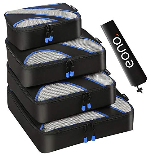Eono Essentials 6 Set Verpackung Würfel, 3 Verschiedene Größen Reisegepäck Verpackung Veranstalter Neongrün