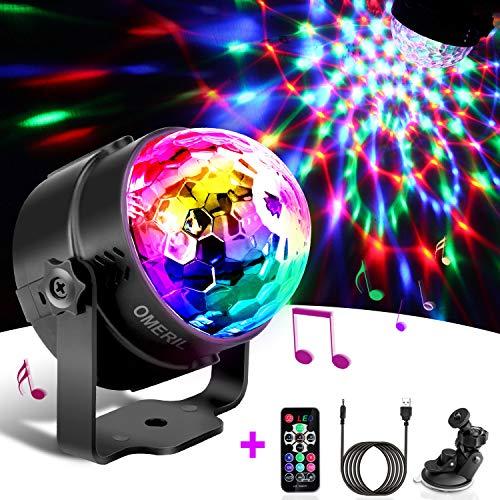 Techole Discokugel LED Party Lampe Musikgesteuert Disco Lichteffekte Discolicht mit 4M USB Kabel, 7 Farbe RGB 360 Drehbares Partylicht mit Fernbedienung fr...