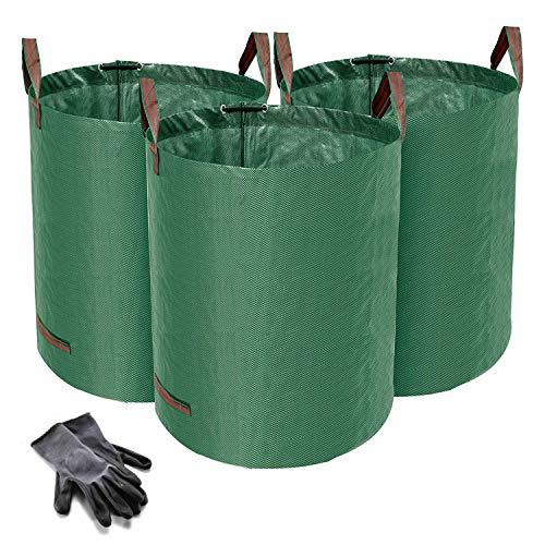 Norjews 3er Set Gartensack, 272L Gartenabfallsack aus robustem Wasserdichtes Polypropylen-Gewebe (PP) - Selbststehend und Faltbar Laubsäcke, inkl. Geschenk 1 Paar...