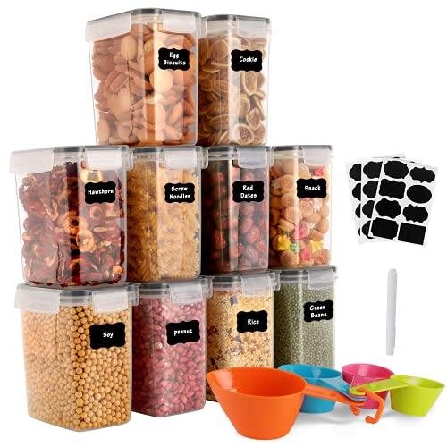 GoMaihe 1.6L Vorratsdosen 10 Set, Aufbewahrungsbox Küche Luftdicht Behälter aus Plastik Mit Deckel, Vorratsgläser zur Aufbewahrung von Nudeln, Müsli, Reis, Mehl,...