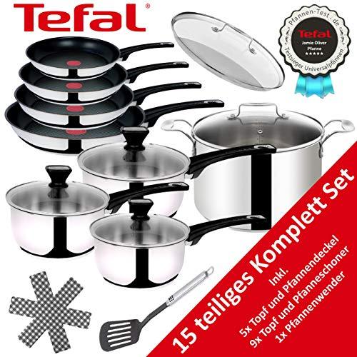 Tefal B12599 Jamie Oliver Edelstahl Topfset Pfannenset 15 TLG, Töpfe und Bratpfannen Set mit 5 Glasdeckel, Induktionsgeeignet, Pfannen 20, 24,26 und 28cm...
