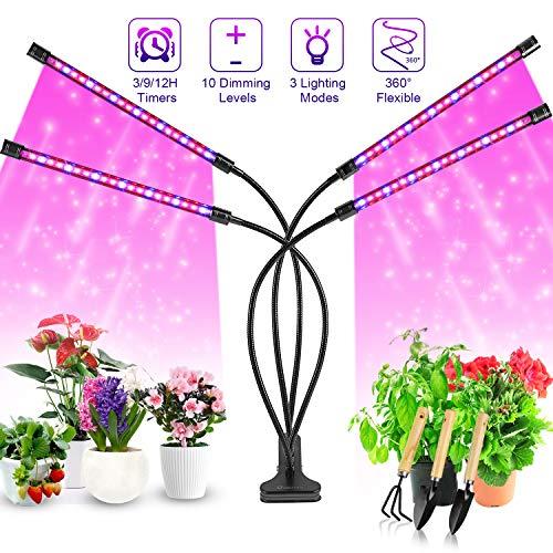 Pflanzenlampe LED, Pflanzenlicht, 40W Pflanzenleuchte, 4 Heads 80 LEDs Wachsen licht, Vollspektrum Wachstumslampe für Zimmerpflanzen mit Zeitschaltuhr, 3 Arten von...