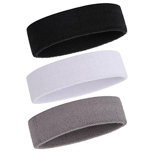 ONUPGO Sweatband Headband for Men & Women - 3PCS Sports Headbands Moisture Wicking Athletic Cotton Terry Cloth Sweatband Sweat-Absorbing ...
