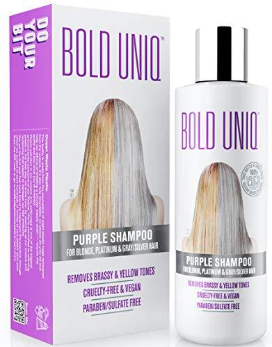 Lila Silber Shampoo - Anti-Gelbstich Purple Shampoo für blonde, blondierte, gesträhnte und graue Haar - No Yellow von für Silber- Aschblond-Tönung - ohne Sulfat...