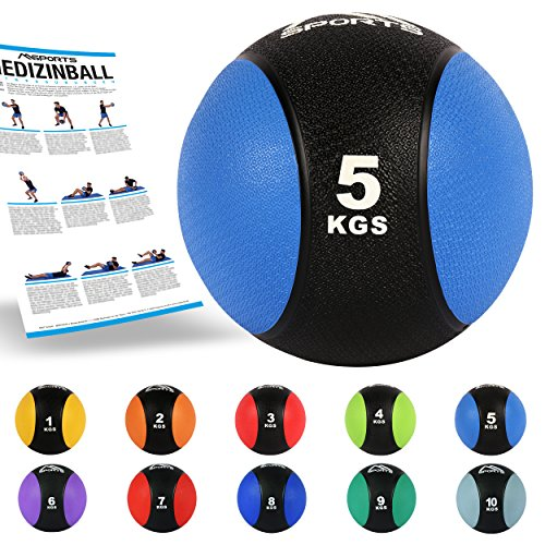 MSPORTS medicine ball 5 kg - professional studio quality incl. Exercise poster gymnastic balls