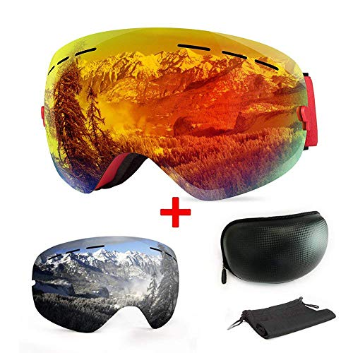 Ski goggles, with fittings and UV protection, for winter sports, snowboard goggles with interchangeable, spherical dual lens, for men, women and teenagers, for ...