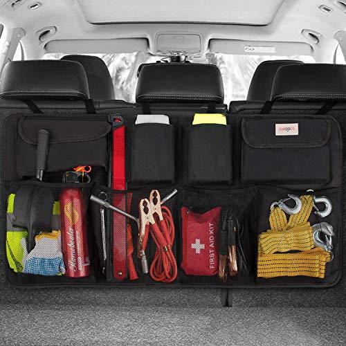 SURDOCA kofferraum organizer auto - 3rd Gen [doppelte Kapazität] organizer auto, ausgestattet mit [Starkes elastisches Netz & 4...