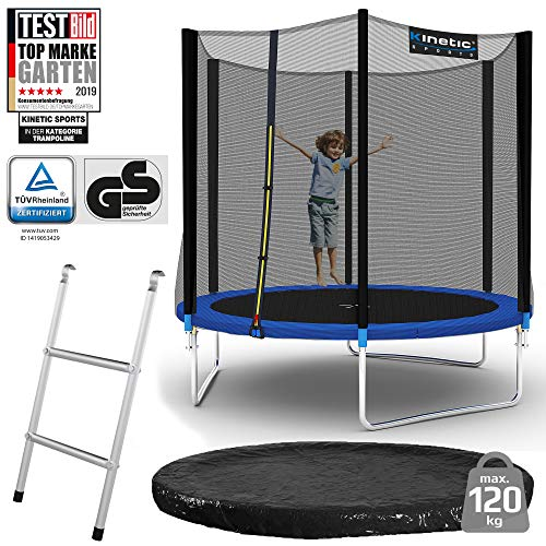Kinetic Sports outdoor garden trampoline Ø 244 cm, TPLS08, including jumping mat from the USA PP mesh + safety net + edge and Rain cover + ladder, up to 120kg, ...